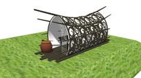 铁艺花纹现代弧形木屋