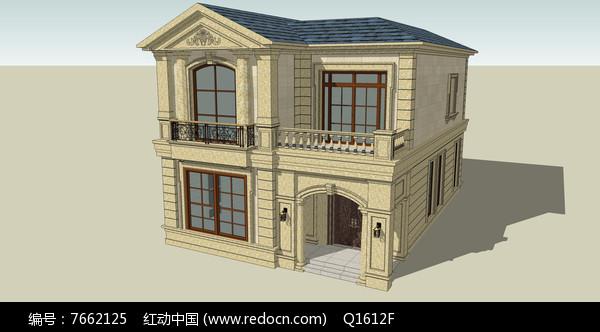 驼色墙体别墅模型