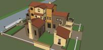 小院独栋别墅模型