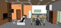 西式风格客厅厨房模型