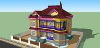 艳丽外墙别墅模型