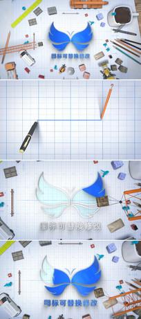 建筑企业logo绘制展示片头ae模板