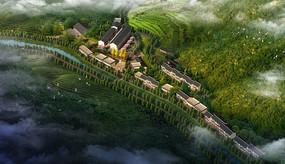 山区乡村规划鸟瞰图