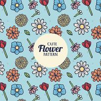 五颜六色的花的花店包装纸图案
