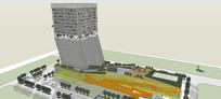 现代艺术高层办公楼模型