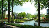 现代住宅休闲水景景观