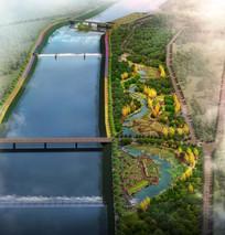 一个高大上的滨河景观效果图