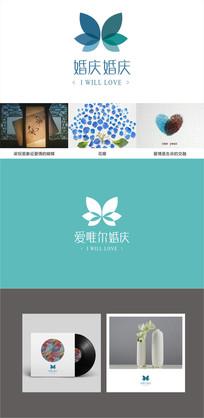 花店婚庆美甲店婚纱店蝴蝶logo设计