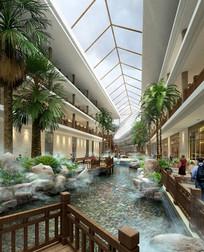 酒店特色中式水景景观 PSD