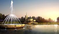 欧式公园喷泉水景 PSD