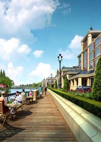 欧式建筑旁亲水休闲木栈道景观