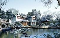 苏州园林庭院冬季景观