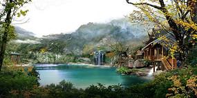 溪湖度假游玩木屋景观