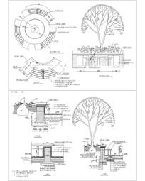 圆形休闲环套树池 CAD