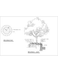 圆形坐凳树池 CAD