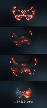 震撼光线轮廓描边logo图标片头模板