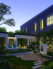 中式园林住宅小区景观jpg