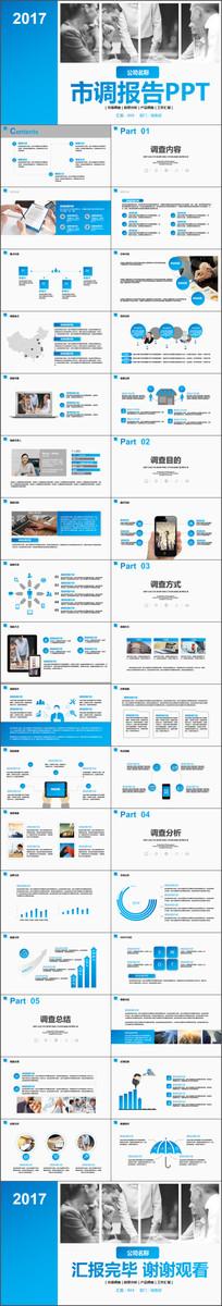 大气孔蓝市场调研新产品调查前景分析报告工作汇报PPT模板