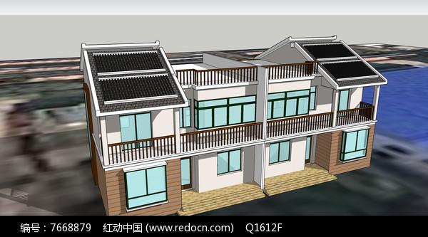 大型双层现代别墅模型图片