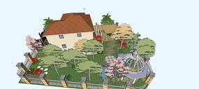 复古别墅庭院景观模型