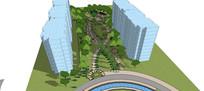 高层住宅区庭院花园景观