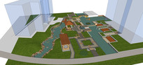 高层住宅小区庭院模型