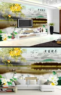 花开富贵牡丹花水墨风景画背景墙