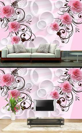 玫瑰花立体背景墙 PSD