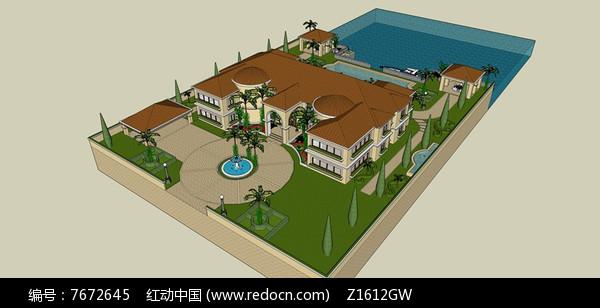 欧式滨水别墅庭院景观图片