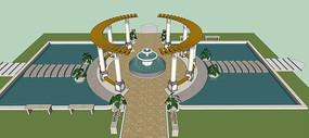 欧式住宅庭院水景模型
