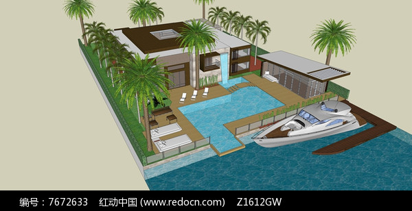 现代滨水别墅后花园景观模型图片