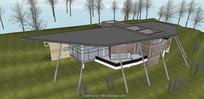 现代创意架空别墅模型