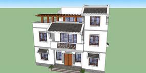 现代中式别墅模型