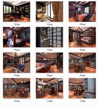 一套现代美式特色别墅室内效果图