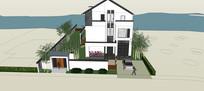 中式别墅庭院模型
