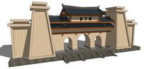 古典城墙大门 skp