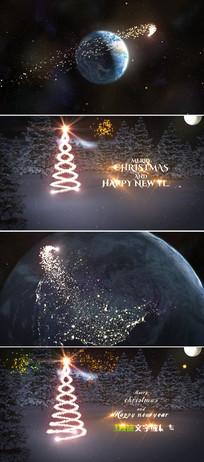 金色粒子环绕地球新年开场片头模板