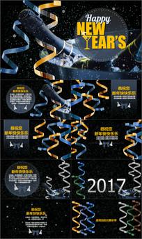新年快乐祝福电子贺卡动态PPT模版
