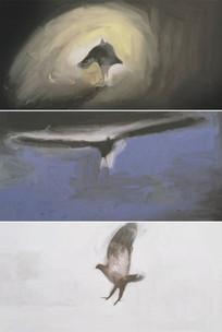 油画巫婆人物变身变成小鸟老鹰视频
