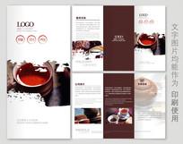 中国风古典茶叶三折页设计