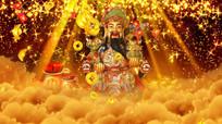 金色粒子恭喜发财财神背景视频