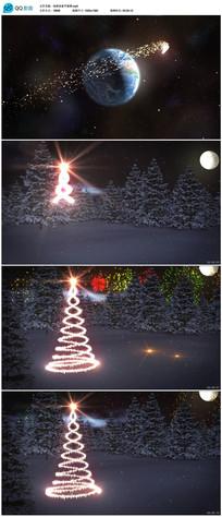 金色粒子环绕地球圣诞新年动画视频片头