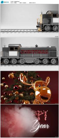 三维卡通圣诞鹿新年送祝福片头视频