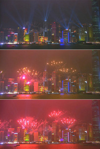 香港城市夜景放烟花跨年夜视频