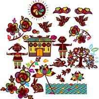 新中式传统花鸟图案插画