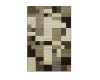 棕色黑色矩形色块地毯 skp