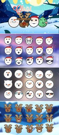 120个卡通圣诞节动画图标视频包模板