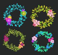 缤纷花朵主题矢量素材图案
