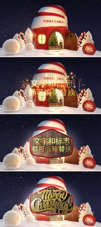 卡通圣诞帽房屋新年片头ae模板