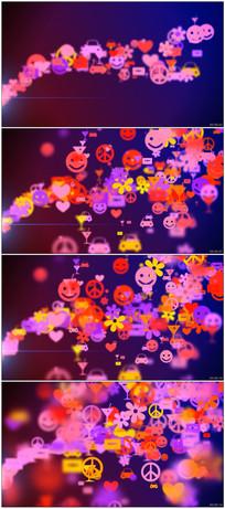 可爱卡通花朵挂饰动态背景视频